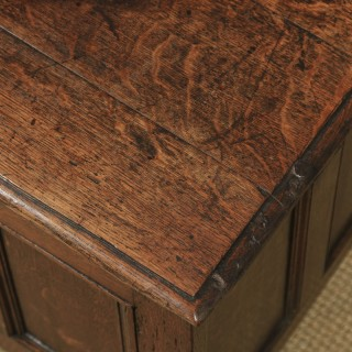 Antique English 18th Century Georgian Oak Joined Triple Panel Coffer Chest Blanket Box (Circa 1780)