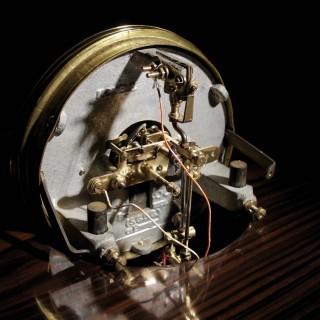 A Very Stylish Art Deco Bulle Electrical Macassar Ebony and Lemon Wood Mantel Clock.