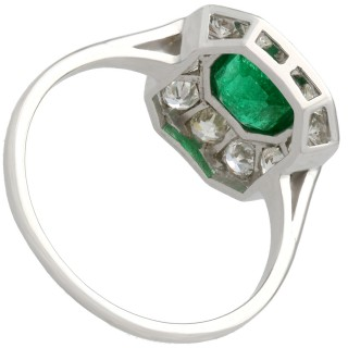 0.91ct Emerald and 0.84ct Diamond, 14ct White Gold Cluster Ring - Antique Circa 1930