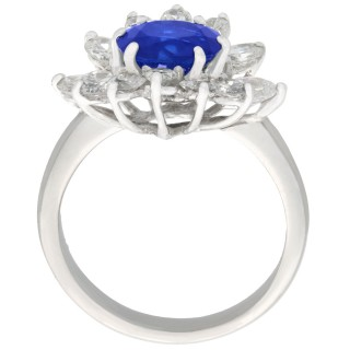 1.85 ct Sapphire and 1.56 ct Diamond, 18 ct White Gold Dress Ring - Vintage French Circa 1970