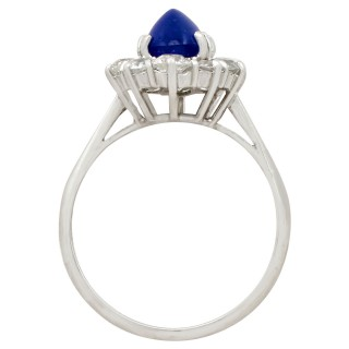 2.17 ct Sapphire and 0.95 ct Diamond, 18 ct White Gold Dress Ring - Vintage Circa 1940