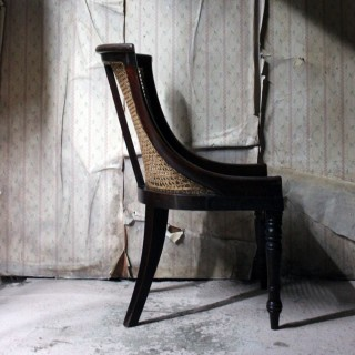 A Blacksmith Repaired Regency Mahogany Library Bergere Chair c.1815