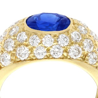 1.60 ct Sapphire and 1.20 ct Diamond, 18 ct Yellow Gold Dress Ring - Vintage Circa 1990