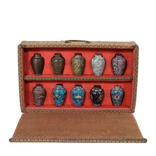 A Japanese Cloisonné Sample Set, Comprising 10 Small Metal Vases