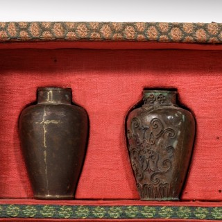 A Japanese Cloisonné Sample Set, Comprising 10 Small Metal Vases
