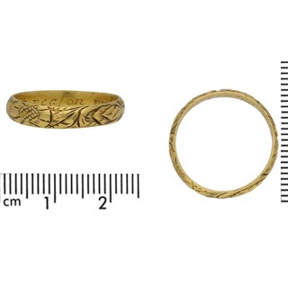17th Century engraved gold posy ring, 'Let reason rule affection', circa 1600.