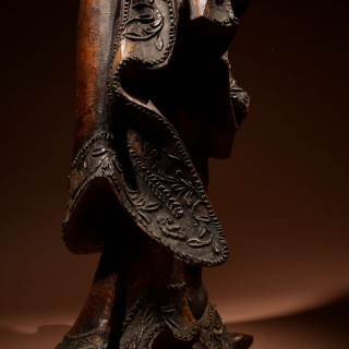 A Large Chinese Wooden Lacquer Sculpture of Guanyin circa 1650