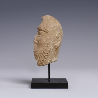 Akkadian Stone Head of A King Worshipper