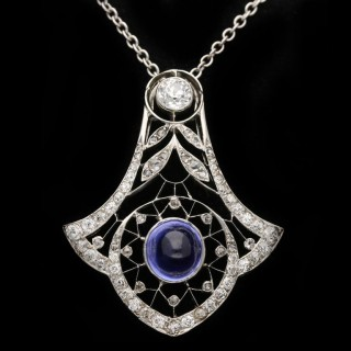 Belle Époque colour change sapphire and diamond pendant, circa 1905.