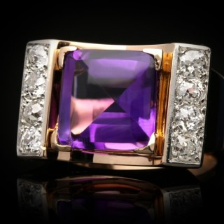 Amethyst and diamond cocktail ring, French, circa 1945.