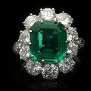 Van Cleef & Arpels Colombian emerald and diamond ring, American, circa 1980.