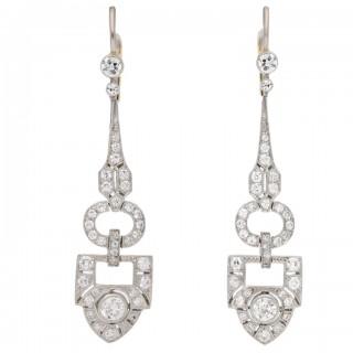 Diamond drop earrings, circa 1920.