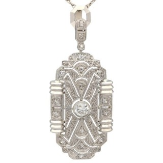0.43ct Diamond and 14ct White Gold Art Deco Pendant - Antique Circa 1920