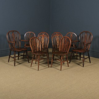 Antique English Set of 10 Ash & Elm Windsor Wheel Back Kitchen Dining Chairs (Circa 1900 - 1930)