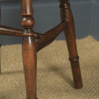 Antique English Set of 10 Ash & Elm Windsor Wheel Back Kitchen Dining Chairs (Circa 1900 - 1930)