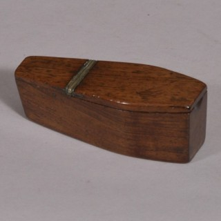 Antique Treen 19th Century Rosewood Coffin Snuff Box