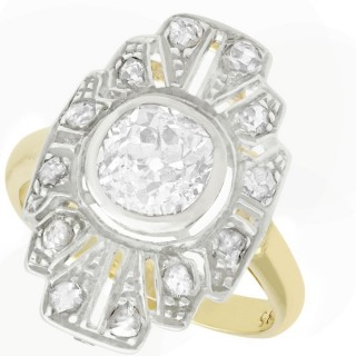 1.46ct Diamond and 14ct Yellow Gold Dress Ring - Art Deco - Antique Circa 1930