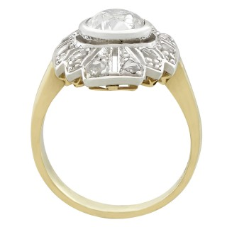 1.46ct Diamond and 14ct Yellow Gold Dress Ring - Art Deco - Antique Circa 1930