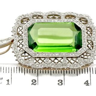 15.66ct Peridot and 1.65ct Diamond, 14ct Yellow Gold Pendant - Antique Circa 1910