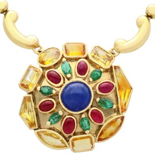 Sapphire and Emerald, Ruby and 18ct Yellow Gold Gemstone Necklace - Vintage French Circa 1945