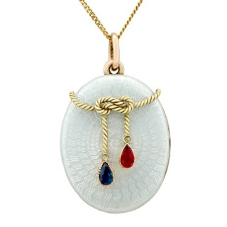 0.22ct Ruby and 0.22ct Sapphire, Diamond and 14ct Rose Gold Locket - Antique Russian Circa 1880