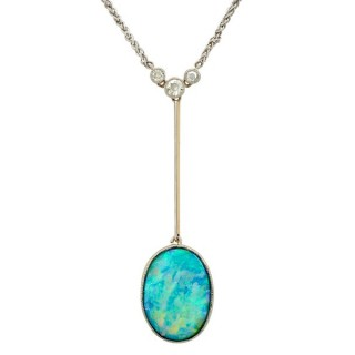 2.19ct Opal and 0.28ct Diamond, 18ct Yellow Gold Necklace - Antique Circa 1910