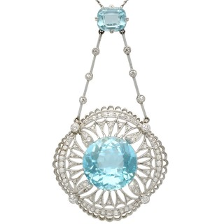 10.97ct Aquamarine and 1.57ct Topaz, 1.42ct Diamond and Platinum Necklace - Antique Circa 1920