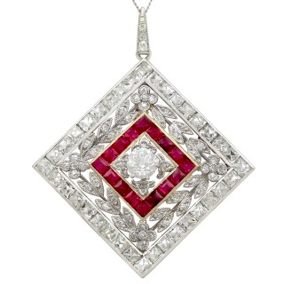 3.48 ct Diamond and 0.53 ct Ruby, Platinum Pendant / Brooch - Antique Circa 1900