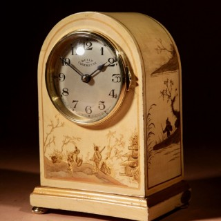A Very Decorative and Unusual Early Electrical Chinoisserie Lacquered French Bulle Clockette Mantel Clock