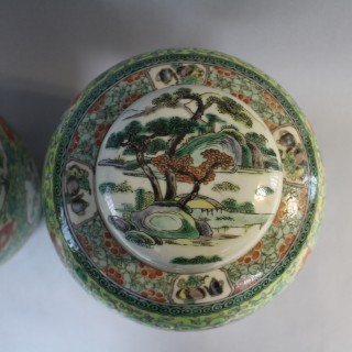 A pair of large 19th century Chinese famille verte porcelain ginger jars