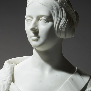 An Important Marble Portrait bust of Queen Victoria