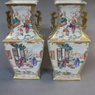 A pair of 18th century Chinese mandarin vases