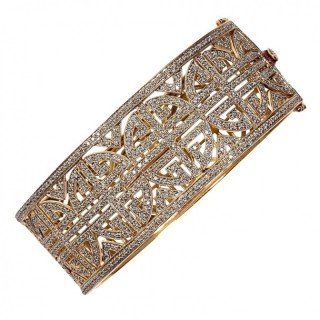 5 Carat Diamond and Gold Geometric Bracelet
