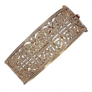 5 Carat Diamond and Gold Geometric Bracelet