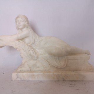 1920s Italian Marble Sculpture Of A Lady On A Sphinx By Cipriani