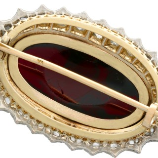33.88ct Garnet and 1.92ct Diamond, 14ct Yellow Gold Silver Set Brooch - Antique Circa 1880
