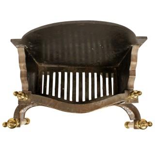 Georgian Steel & Brass Fire Basket