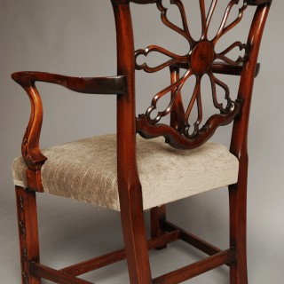 Late 19th century fine quality mahogany open armchair in the Chippendale style