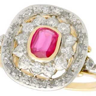 Synthetic Ruby and 0.78 ct Diamond, 18 ct Yellow Gold Dress Ring - Antique Circa 1907