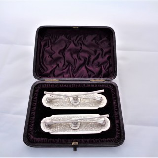 Fine pair cased Victorian silver golf knife rests Sheffield 1895 Henry Atkins