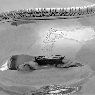 Good quality crested George II  collett footed sauce gravy boat London 1758 William Skeen