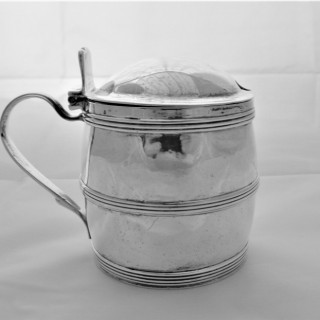 Good quality George III barrel mustard pot London 1801 by IM