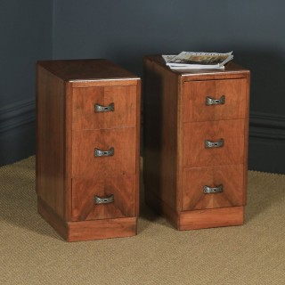 Antique English Pair of Art Deco Walnut Bedside Chests / Cabinets (Circa 1940)