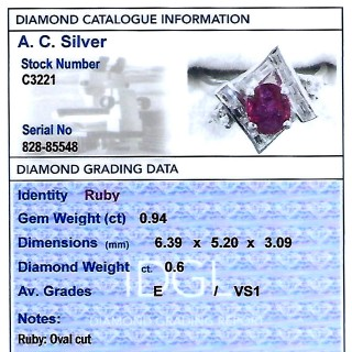 0.94ct Ruby and 0.60ct Diamond, 18ct White Gold Dress Ring - Vintage Circa 1960
