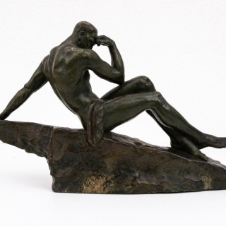 """Le Penseur"" patinated bronze figure by Pierre Le Faguays"