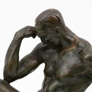 """""""Le Penseur"""" patinated bronze figure by Pierre Le Faguays"""