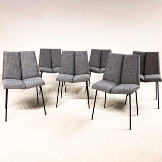 "set of six Pierre Guariche ""Quatre faces"" chairs"