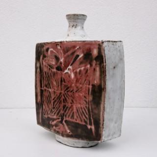 Large mid century slab built vase by Jean Derval