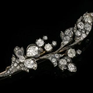 Victorian diamond foliate brooch, English, circa 1870.