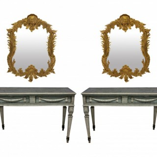 A PAIR OF LARGE XVIII CENTURY NEO-CLASSICAL CONSOLE TABLES
